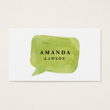 Professional Business Watercolor talk bubble business card