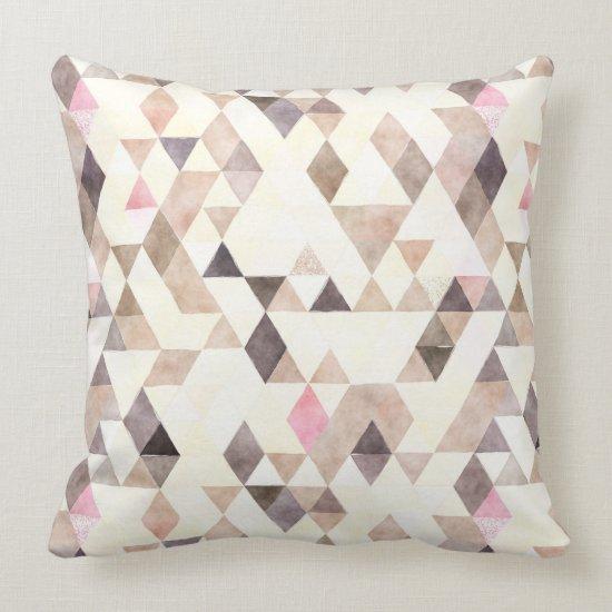 Watercolor Tan Mocha Cream Pink Triangles Pattern Throw Pillow