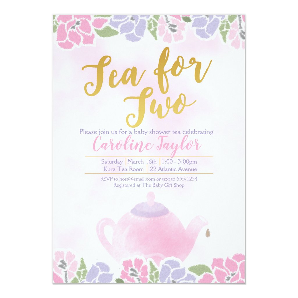 Watercolor Tea for Two Baby Shower Pink Gold Invitation