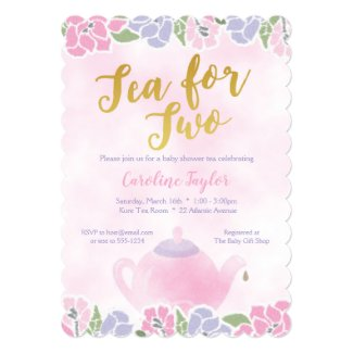 Watercolor Tea Party Pink Purple Gold Baby Shower Invitation