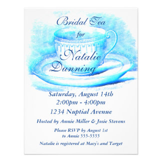 Watercolor Teacup Bridal Shower Invitations