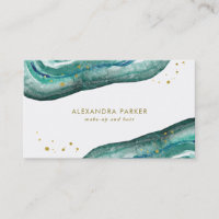 Watercolor Teal and Faux Gold Geode Business Card