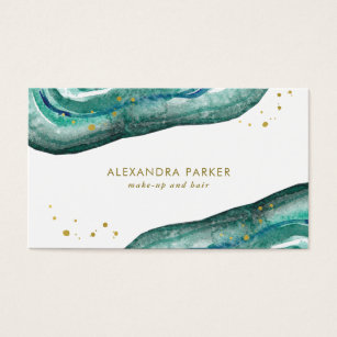 Watercolor business cards templates zazzle watercolor teal and faux gold geode business card cheaphphosting Images