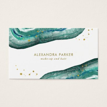 christine592 Watercolor Teal and Faux Gold Geode Business Card