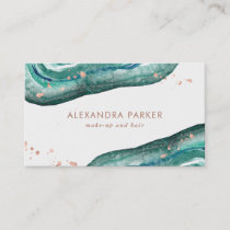Watercolor Teal and Faux Rose Gold Geode Business Card