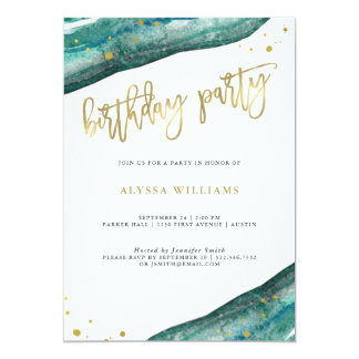 Watercolor Teal and Gold Geode Birthday Party Card