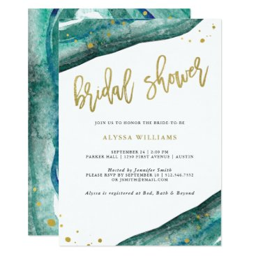Customize_My_Wedding Watercolor Teal and Gold Geode Bridal Shower Card