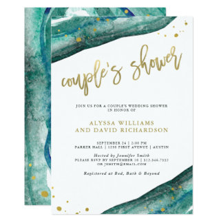 Watercolor Teal and Gold Geode Couples Shower Card