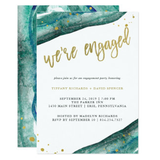 Watercolor Teal and Gold Geode Engagement Party Invitation