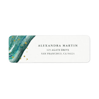 Watercolor Teal and Gold Geode Label
