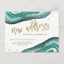 Watercolor Teal and Gold Geode | New Address Announcement Postcard
