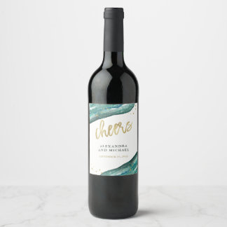 Watercolor Teal and Gold Geode Wedding Cheers Wine Label