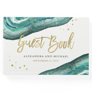 Watercolor Teal and Gold Geode Wedding Guest Book