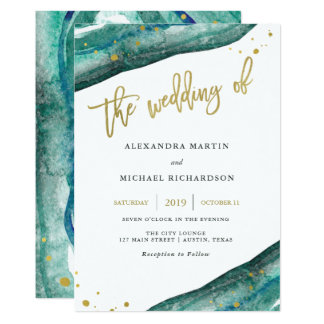 Nice Watercolor Teal And Gold Geode Wedding Invitation
