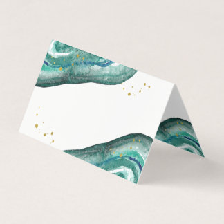 Watercolor Teal and Gold Geode Wedding Place Card