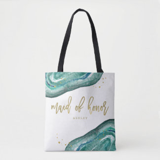 Watercolor Teal and Gold Look Geode Maid of Honor Tote Bag