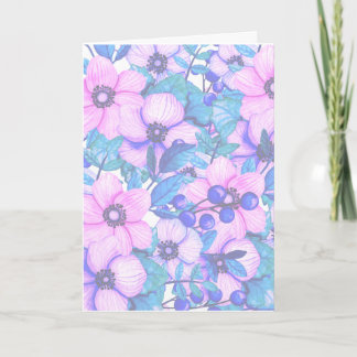 Watercolor Teal and Pink Floral Mother's Day Card