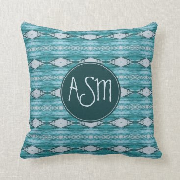Aztec Themed Watercolor Teal Aztec Tribal Pattern Monogram Throw Pillow