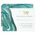 Watercolor Teal Geode and Faux Gold Wedding RSVP Card