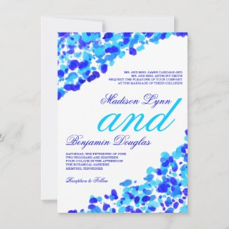 Watercolor Teal Royal Blue Wedding Invitations