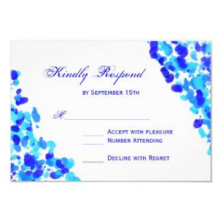 Watercolor Teal Royal Blue Wedding RSVP Cards