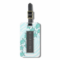 Watercolor Teal Sea Turtles on Swirly Stripes Bag Tag