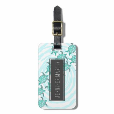 Beach Themed Watercolor Teal Sea Turtles on Swirly Stripes Bag Tag