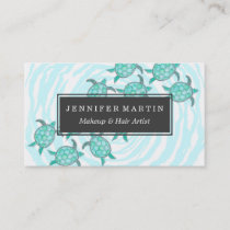 Watercolor Teal Sea Turtles on Swirly Stripes Business Card
