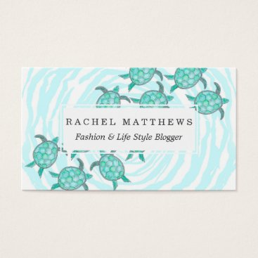 Beach Themed Watercolor Teal Sea Turtles on Swirly Stripes Business Card