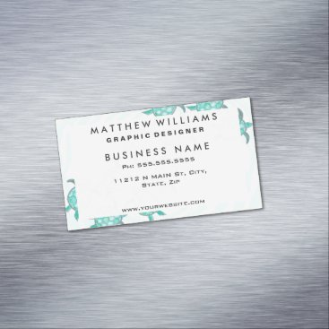 Beach Themed Watercolor Teal Sea Turtles on Swirly Stripes Business Card Magnet