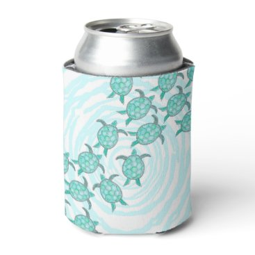 BlackStrawberry_Co Watercolor Teal Sea Turtles on Swirly Stripes Can Cooler