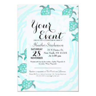 Watercolor Teal Sea Turtles on Swirly Stripes Card