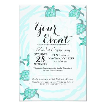 BlackStrawberry_Co Watercolor Teal Sea Turtles on Swirly Stripes Card