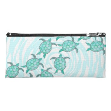 Beach Themed Watercolor Teal Sea Turtles on Swirly Stripes Pencil Case