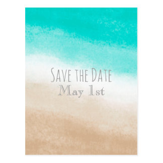 Watercolor Teal & Tan Beach Wedding Save the Date Postcard
