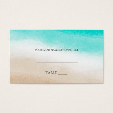 Beach Themed Watercolor Teal & Tan Elegant Beach Wedding Place Business Card