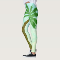 Watercolor Teals and Blues Palm Tree Leggings