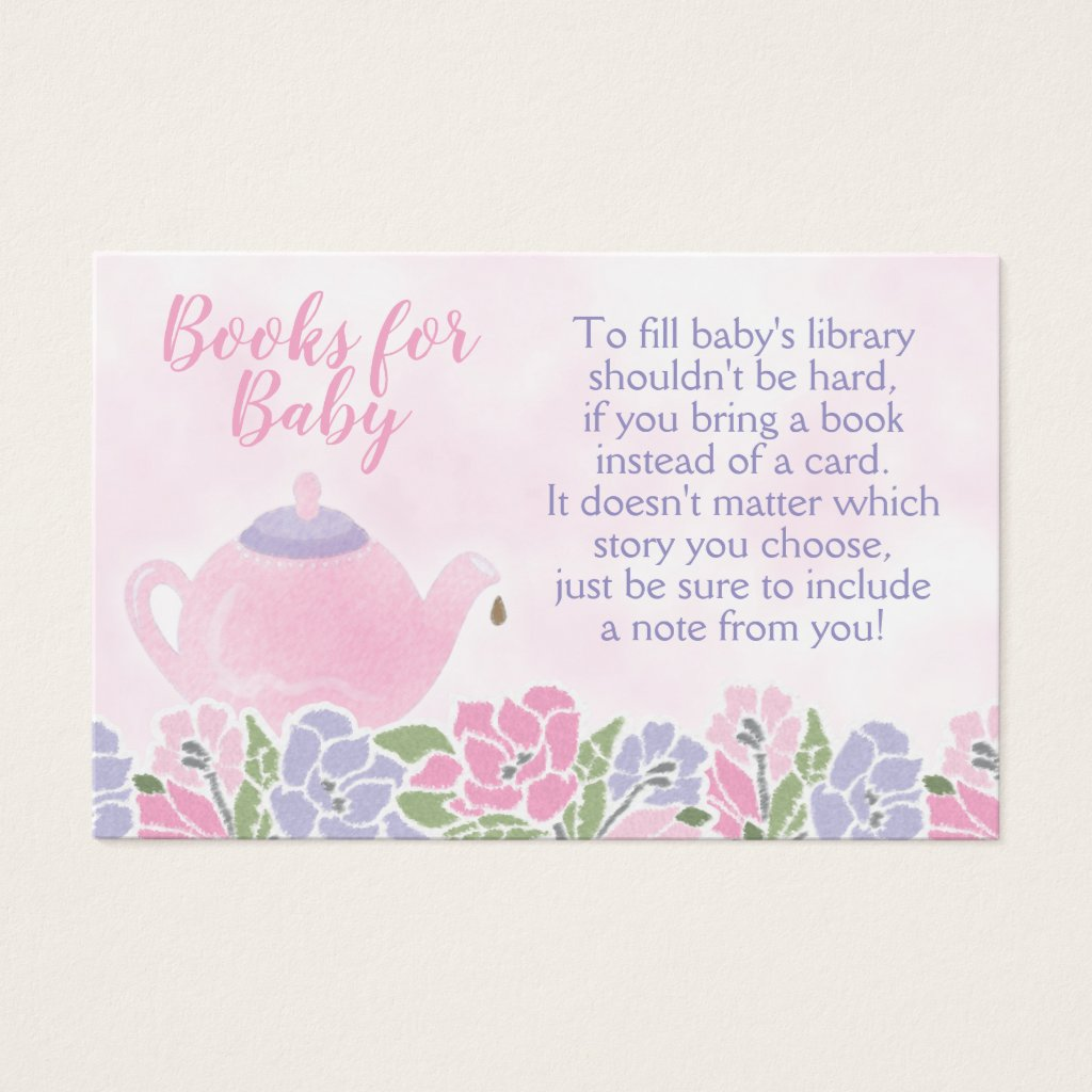 Watercolor Teapot Baby Shower Bring a Book Card