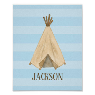 Watercolor Teepee Personalized Boy Nursery Poster