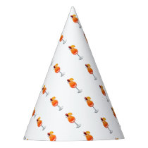 Watercolor Tequila Sunrise Cocktail Party Hat