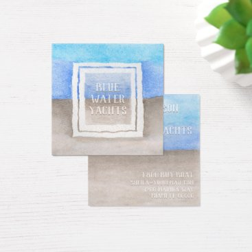 Beach Themed Watercolor Text Over Blue & Tan Sea Beach Theme Square Business Card