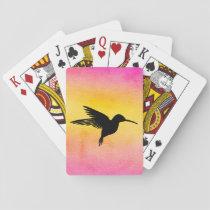 Watercolor Textured Hummingbird Playing Cards