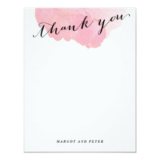 Watercolor Thank you flat note card