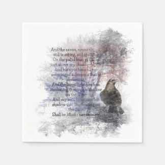 Watercolor The Raven Edgar Allan Poe Poem Paper Napkin