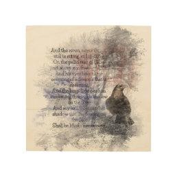 Watercolor The Raven Edgar Allan Poe Poem Wood Wall Art