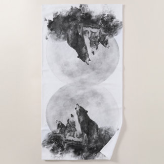 Watercolor  Three Wolf Howling at the Moon Beach Towel