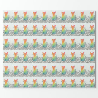 Watercolor Tie Dye Cat Wrapping Paper