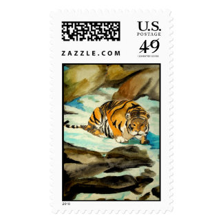 Watercolor Tiger Stamps