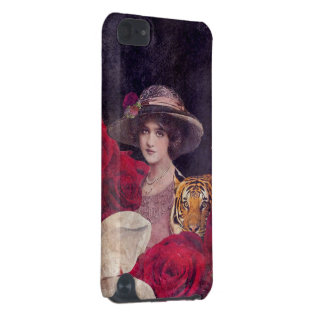 Watercolor Tiger Woman Roses iPod Touch (5th Generation) Cover