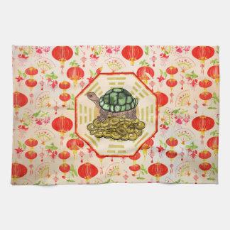 Watercolor Tortoise / Turtle Feng Shui on Bagua Hand Towel